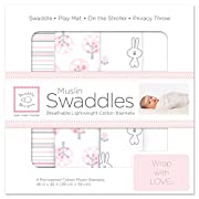 SwaddleDesigns Cotton Muslin Swaddle Blankets, Set of 4, Pink Thicket and Pure White