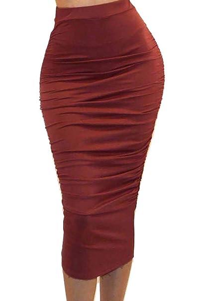 4e32efb13f Vivicastle Women's USA Ruched Frill Ruffle High Waist Pencil Mid-Calf Skirt  (1 DK