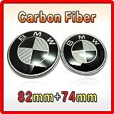 GUMP 2x CARBON FIBER BMW FRONT/REAR BADGES EMBLEMS 82mm/74mm Black/Grey
