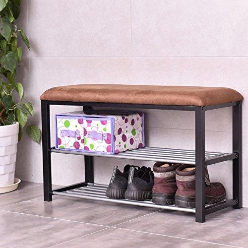 2 Tier Shoe Storage Rack Bench Shelf Soft Seat Stool Organizer Entryway Furni