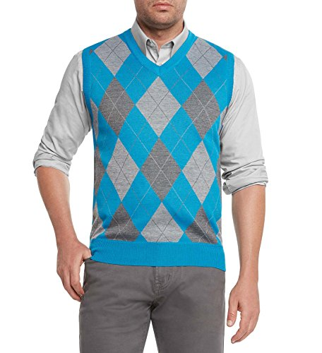 Argyle Golf Vest - True Rock Men's Argyle V-Neck Sweater Vest-Turquoise/Gray-Large