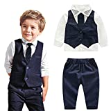 Moyikiss Studio 4Pcs Toddler Baby Boys Gentleman Long Sleeve Shirt+Vest+Pants+Bow Tie Clothing Outfits Set (2T)