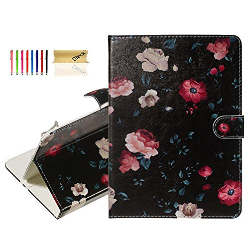 Dteck 6.5-7.5 Inch Universal Tablet Case - Slim Lightweight Cute Folio Wallet Stand Cover Case for Samsung Tab 7.0/ Fire/Oasis 7.0 2019/ L G G Pad 7.0/ Google Nexus 7 Inch/Lenovo Tab E7-Black Flower (Best Cover For Nexus 7 2019)