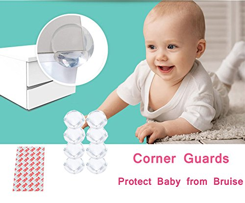Corner Guards Baby Safety Proofing Child Proof Edge Cushion Clear Corner Protectors for Furniture Tables & Sharp Corners 20 Pack (Transparent) by BOBKY (Image #6)