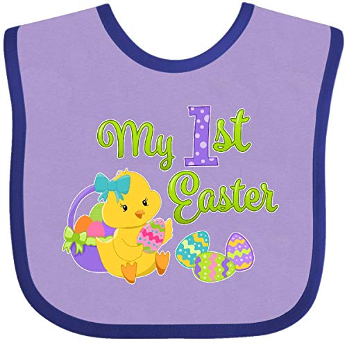 (Inktastic - My First Easter- cute chick and Baby Bib Lavender and Purple 2e864)