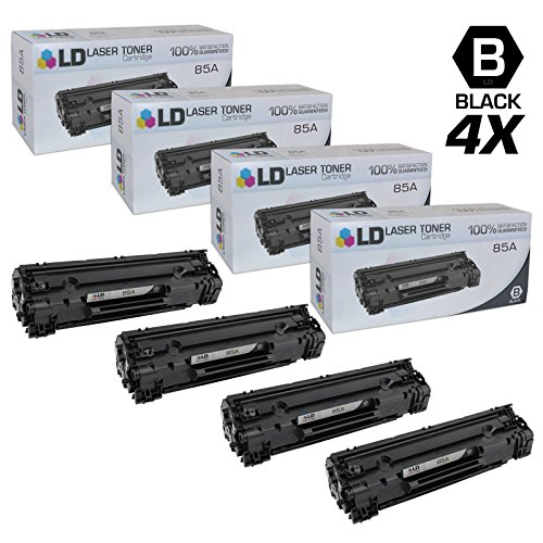 LD © Compatible Replacements for Hewlett Packard CE285A (HP 85A) Set of 4 Black Laser Toner Cartridges for use in HP LaserJet Pro M1132, M1212nf, M1217nfw MFP, P1102, and P1102W Printers