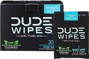 DUDE Wipes, Flushable Single Moist, with Aloe Vera, 30 Count