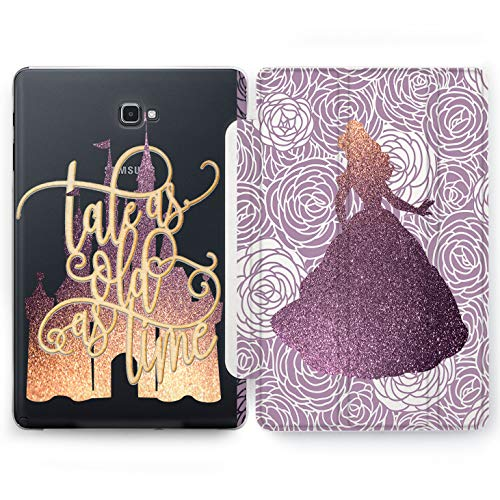 Wonder Wild Castle Princess Samsung Galaxy Tab S4 S2 S3 A E Smart Stand Case 2015 2016 2017 2018 Tablet Cover 8 9.6 9.7 10 10.1 10.5 Inch Clear Design Tale As Old As Time Golden Fairy Tale Glitter