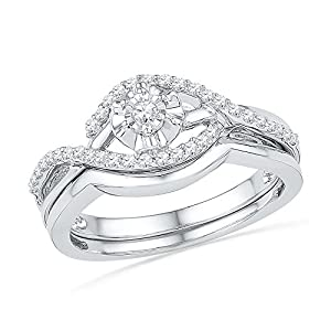 10k White Gold Womens Round Diamond Solitaire Wedding Bridal Engagement Ring Set 1/4 Cttw