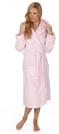 c39c135055 Ladies Soft Flannel Fleece Hooded Dressing Gown. Pink
