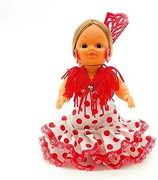 Folk Artesanía Muñeca artesana de 15 cm con Vestido Regional típico Andaluza Peineta (Negro Lunar Rojo)