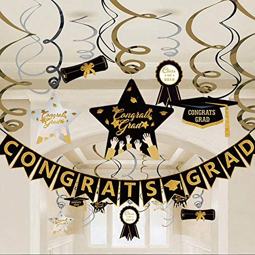 Graduation Hanging Swirl Banner Decorations, Black Gold Silver Star Banner Garland Party Supplies for Class of -