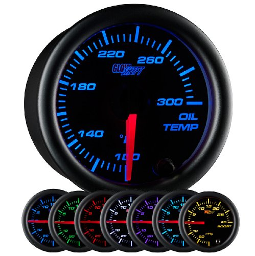 GlowShift Black 7 Color 300 F Oil Temperature Gauge Kit - Includes Electronic Sensor - Black Dial - Clear Lens - for Car & Truck - 2-1/16