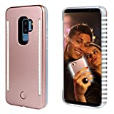 Selfie Light up Case for S9 Plus, FULLOPTO Light Selfie case with 2 Sides Led Lamps and Dot Shinning Smooth Surface with Double Rechargeable LED Flashlight and Protection for Samsung S9+ (Rose Gold