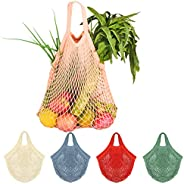 5Pcs Net Cotton String Shopping Bag, Creatiee Reusable Mesh Market Tote Organizer for Grocery Shopper Produce