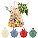 5Pcs Net Cotton String Shopping Bag, Creatiee Reusable Mesh Market Tote Organizer for Grocery Shopper Produce Storage Beach Toys Fruit Vegetable - Less Plastic(5 Colors) (Short Handle 2)