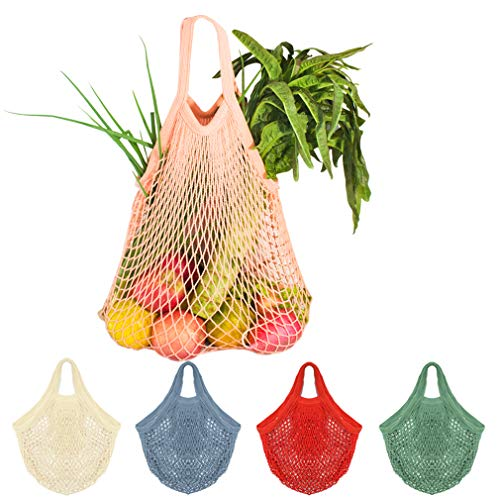 Creatiee Net Shopping Bag, 5Pcs Reusable Mesh Cotton Shopping Tote Handbag, Portable String Bag Organizer for Grocery Shopping/Outdoor Packing/Storage/Fruit/Vegetable(5 Colors) ()