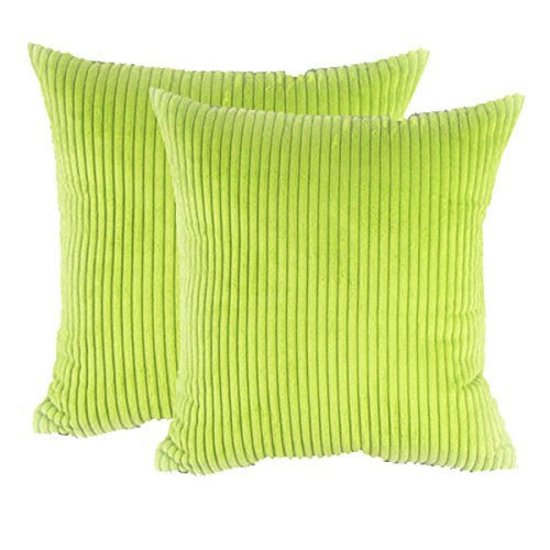 sykting Square Pillow Covers Super Soft Striped Textured Velvet Corduroy Cushion Cases Decorative 18 x 18 Pack of 2 Green ()