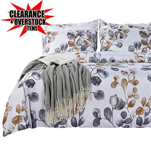 Quilts Bedding Discount (SexyTown Botanical Duvet Cover Set Queen Lightweight Microfiber Duvet Cover with 2 Pillow Shams Quilt Cover Leaves Pattern Bedding Duvet Cover Set Queen Size (Pattern D, Full/Queen))
