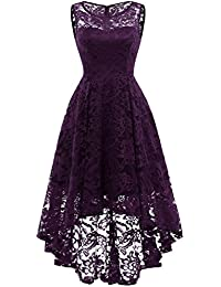 Women's Vintage Floral Lace Sleeveless Hi-Lo Cocktail...
