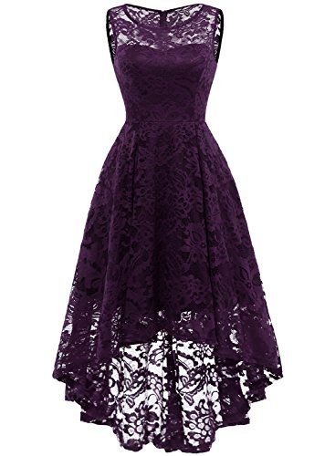 MUADRESS 6006 Women's Vintage Floral Lace Sleeveless Hi-Lo Cocktail Formal Swing Dress Grape M