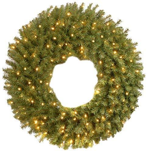 National Tree 36 Inch Norwood Fir Wreath with with 100 Battery Operated Dual LED Lights (NF-304D-36W-B1) (Christmas Outdoor Wreaths)