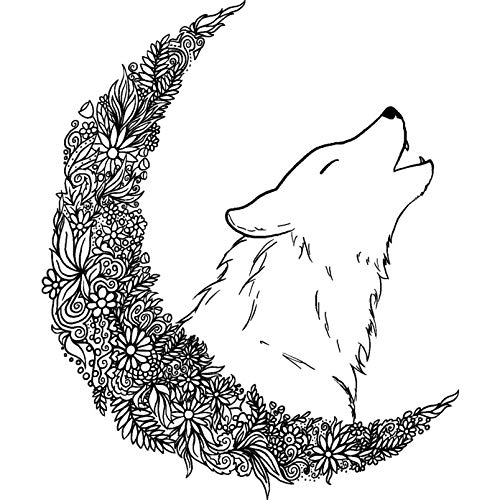 - Azeeda A7 'Flower Moon Wolf' Unmounted Rubber Stamp (RS00005927)