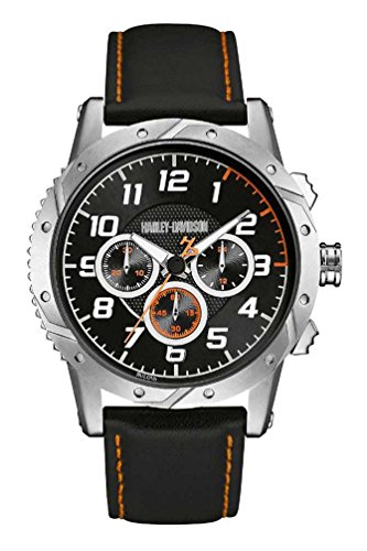 Harley-Davidson Men's Chronograph Brake Plate Watch, Stainless/Leather 76B171