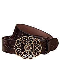 Women's Fashion Vintage Classic Style -Waist Sunflower Design Leather Belts for Women Jeans 3.2CM Width 5Colors (Coffee)
