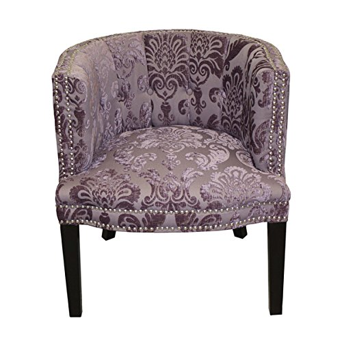 Bohemian Black Plum Fan Damask Arm Chair (Floral Chair Upholstered Red)