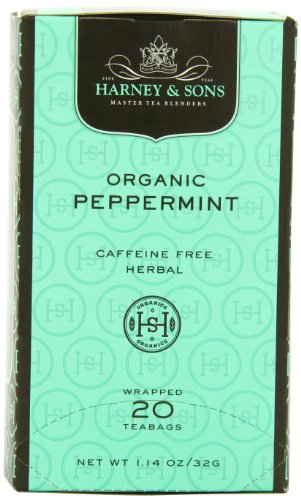 Harney & Sons Premium Organic Peppermint Herbal Tea, 20 Tea Bags -