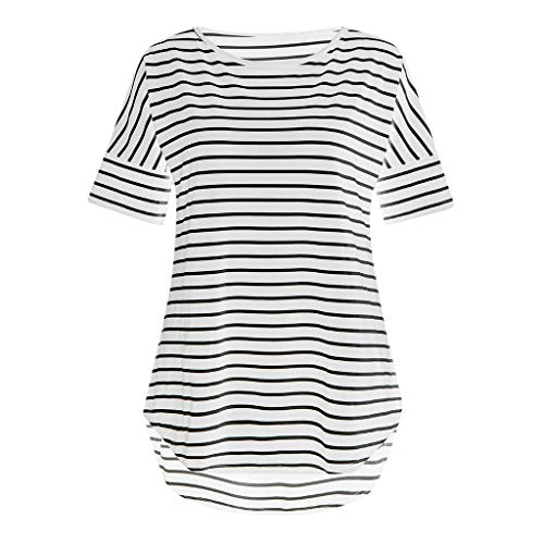 RIUDA Women's Comfy Stripe Casual Short Sleeve Side Twist Knotted Tops Blouse Tunic T Shirts White -