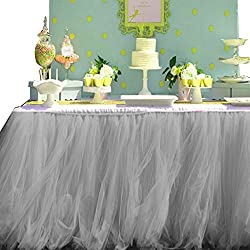 Improved Tulle Table Cloth Gauze Decoration Tutu Table Skirts for Girl Princess Party Baby Shower Wedding Birthday Parties Decoration (grey)