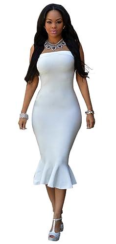Kearia Womens Elegant Wrap off Shoulder Back Zipper Bodycon Clubwear Party Midi Dress