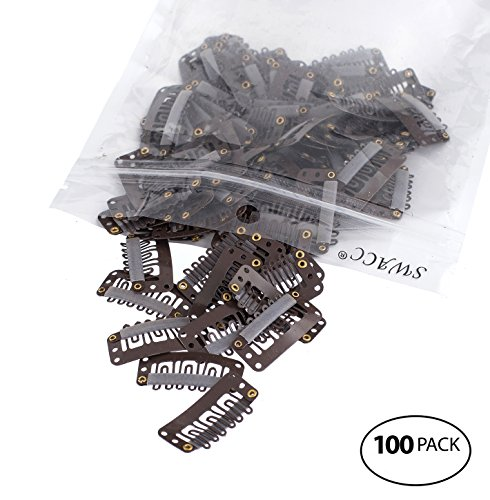 SWACC 100 Pcs U Shape Metailic Snap Clips ins for Hair Exten
