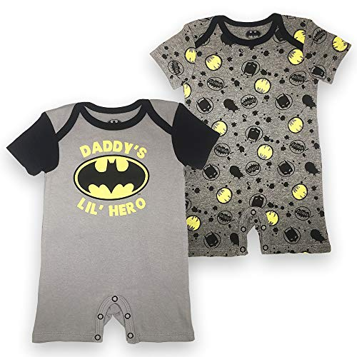 Batman DC Comics Newborn Baby Boys Infants 2 Pack Logo Snap Suit Romper Hearther Grey and Charcoal 24 Months -
