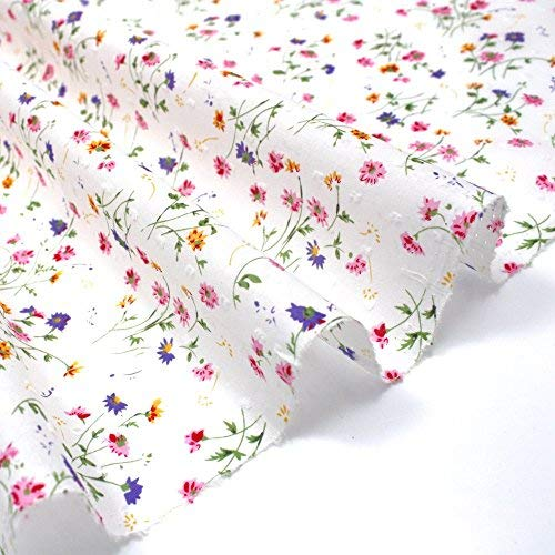 Higgs & Higgs - Dotted Swiss Fine Lawn - Delicate Multi Sprig on White - 100% Cotton Fabric Lightweight