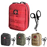 Tactical MOLLE EMT Medical First Aid IFAK Utility Pouch Bag (RED First Aid Patch)