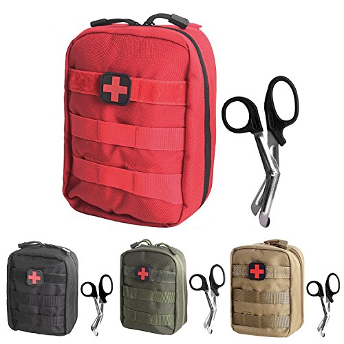- Tactical MOLLE EMT Medical First Aid IFAK Utility Pouch Bag (RED with First Aid Patch)