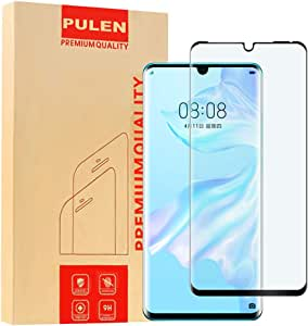 PULEN for Huawei (P30 Pro) Screen Protector,HD Clear 3D Full Screen Coverage Anti-Fingerprints 9H Hardness Tempered Glass for Huawei P30 Pro 2019,6.47'' (Black)