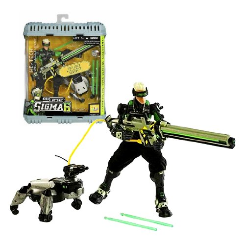 Hasbro Year 2006 G.I. JOE Sigma 6 Classified Series 8 Inch Tall Action Figure : HI-TECH with H.O.U.N.D. Sentry, SCARR Blaster, 3 Pulse Missiles and Weapons Case ()