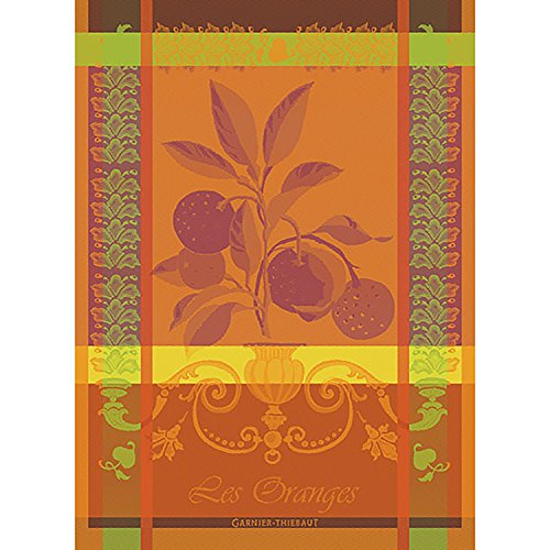 Garnier Thiebaut, Oranges Sanguine French Woven Kitchen / Tea Towel, 100 Percent Cotton -