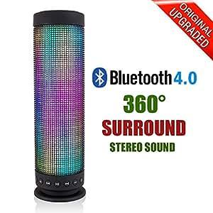 Altavoz Inalámbrico Bluetooth 4.0Portátil cilíndrico de uppel® Luz LED Pantalla Modo Potente sonido Micrófono incorporado Apoyo a la función Manos libres tarjeta TF