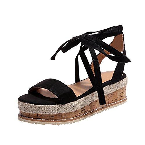 【MOHOLL】 Womens Open Toe Tie Lace Up Platform Wedges Sandals Ankle Strap Slingback Dress Shoes Black