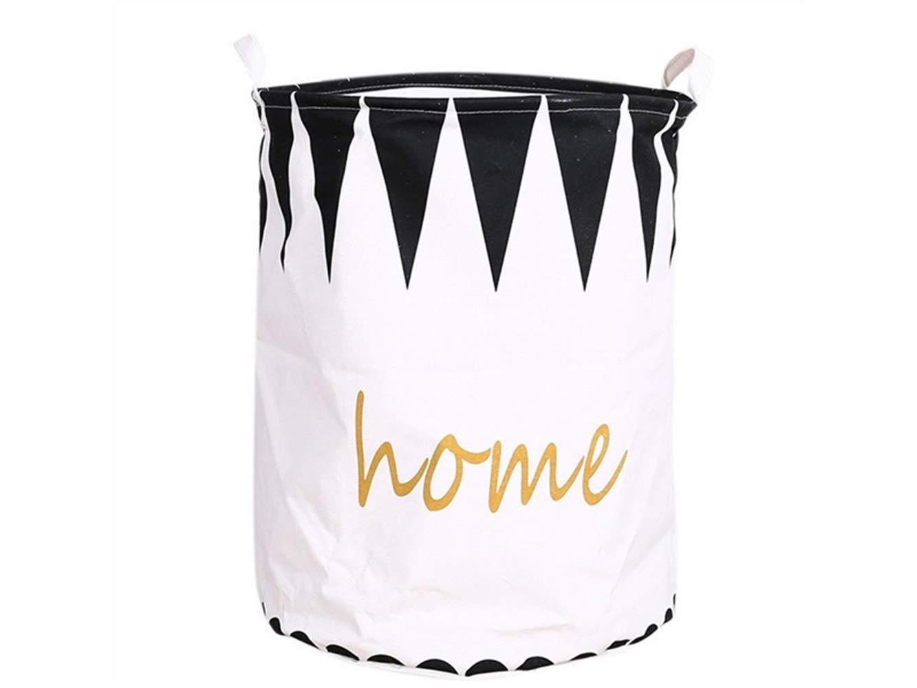 Storage Box Home Pattern Storage Bucket Cotton and Linen Bucket Sundries Storage Bucket Waterproof Storage Bucket(Black+White)