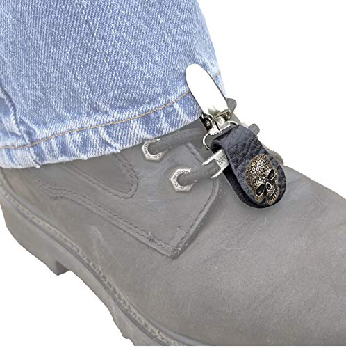 Boot Clip, Pant leg clamp, with Celtic Skull. (sold as a pair)