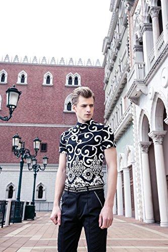 FANZHUAN Uomo Estate Camicia Maniche Corte Stampa Elegante Slim Moda Casual