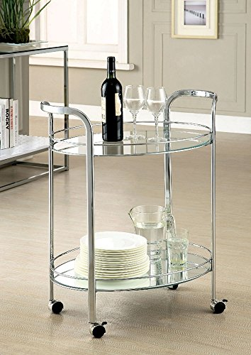 Furniture of America CM-AC228 Loule Chrome Serving Kitchen Carts Islands