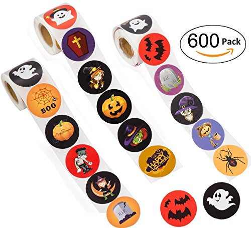 Halloween Favors Stickers Roll - Jack O Lantern Party Decorations Trick or Treat Goodie Bag Stuffer - Pumpkin / Bats / Spiders / Witch