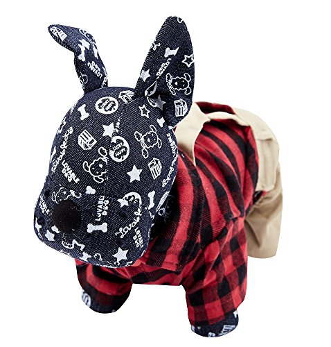 [OSPet Dog Cotton Plaid Shirt Puppy Jumpsuit Overalls Outfit for Small Dogs XS] (Dog Outfits For Christmas)